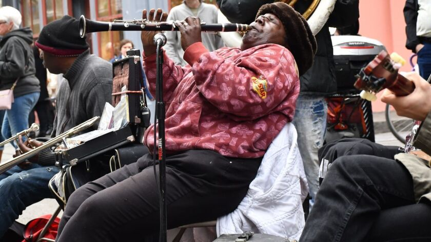 NEW ORLEANS, LOUISIANA--Doreen Ketchens, on clarinet, and her band play Royal Street, New Orleans.
