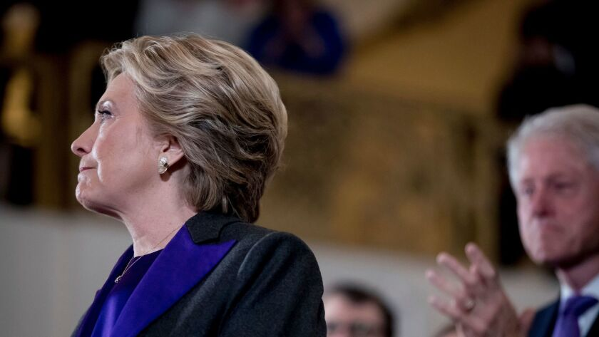 Democratic presidential candidate Hillary Clinton concedes her defeat to Republican Donald Trump in New York on Nov. 9, 2016.