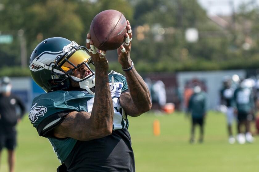 Philadelphia Eagles wide receiver DeSean Jackson catches the ball during an NFL football practice, Thursday, Aug. 27, 2020, in Philadelphia. (AP Photo/Chris Szagola, Pool)