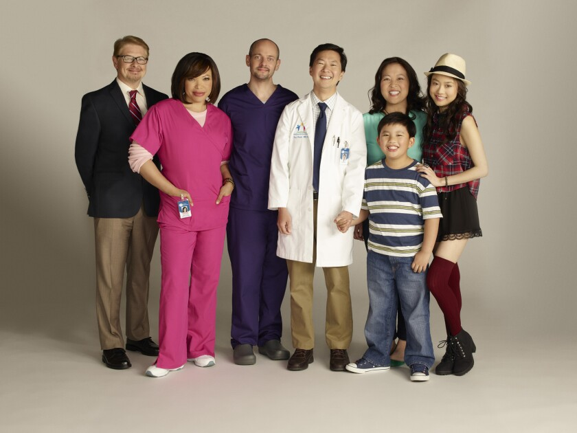 "Ken Jeong (in white coat) stars in ABC's new comedy ""Dr. Ken."""
