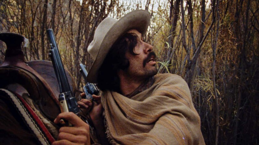 """Edward James Olmos in a scene from the 1982 movie """"The Ballad of Gregorio Cortez."""""""