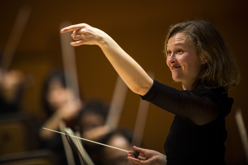Mirga Grazinyte-Tyla, formerly associate conductor at the L.A. Phil, photographed in Walt Disney Concert Hall.