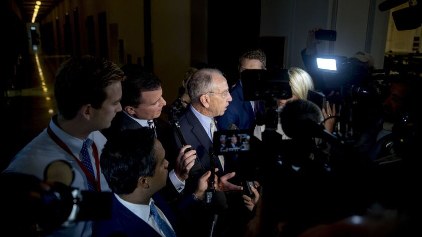 Senate Judiciary Committee Chairman Charles E. Grassley (R-Iowa) speaks to reporters in Washington on Wednesday.