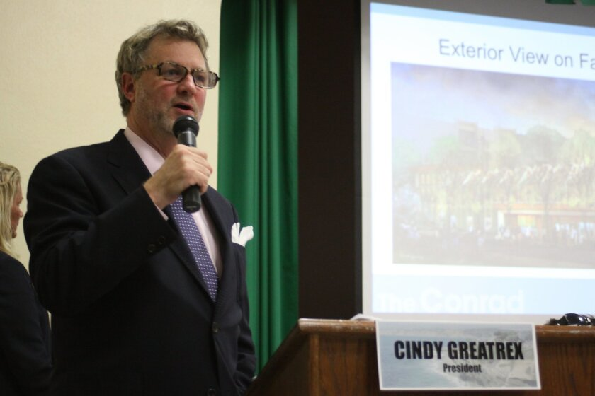 Christopher Beach, la Jolla Music Society theater and development consultant, introduces the new performing arts complex, 'The Conrad,' at the la Jolla Community Planning Association meeting Oct. 1.
