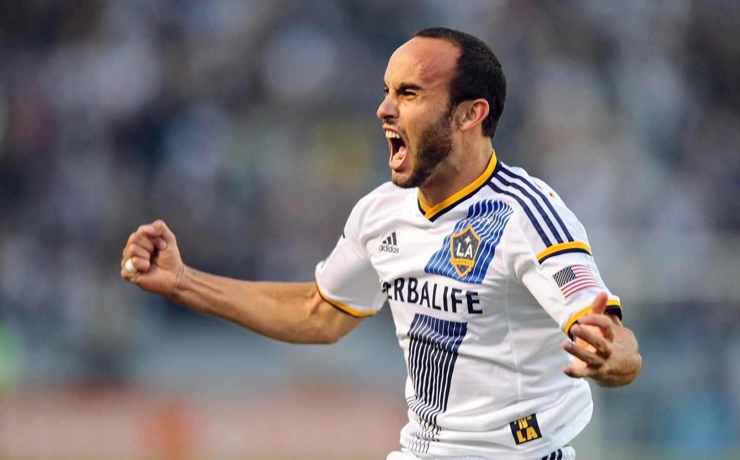 Galaxy midfielder Landon Donovan reacts after scoring the first of his three goals against Real Salt Lake in an MLS playoff game on Sunday at StubHub Center.