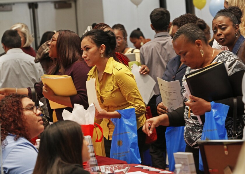 Job seekers attended an employment fair in Carson last month.