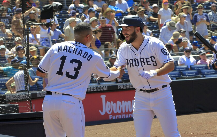 As the Padres target 2020 to contend, they'll need more production and reshaped leadership from Manny Machado and Eric Hosmer, right.