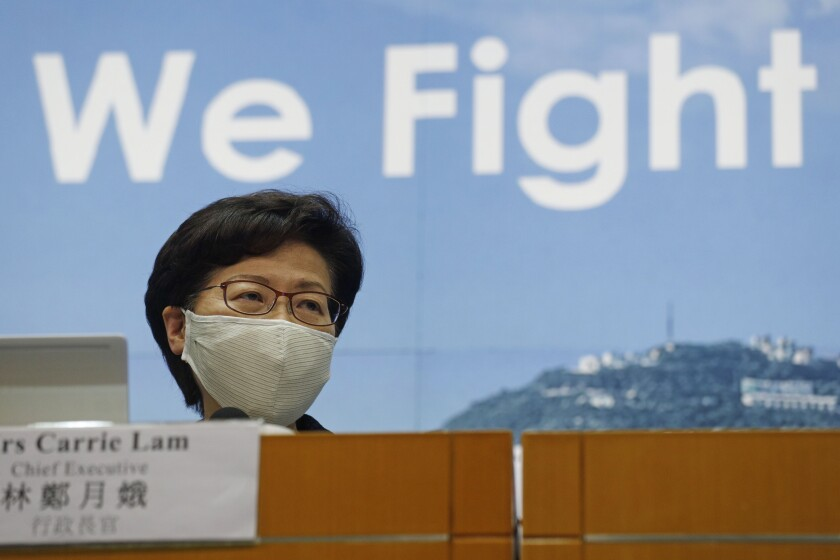 Hong Kong Chief Executive Carrie Lam speaks at a news conference on July 31