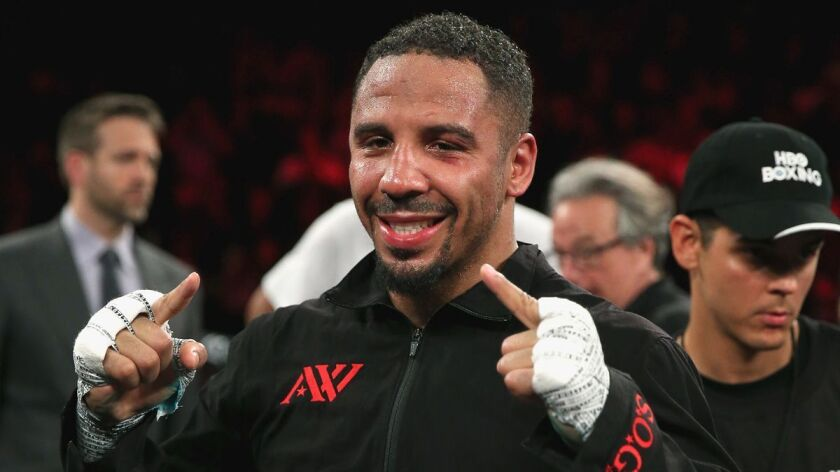 Andre Ward celebrates after defeating Sullivan Barrera on March 26, 2016, in Oakland.