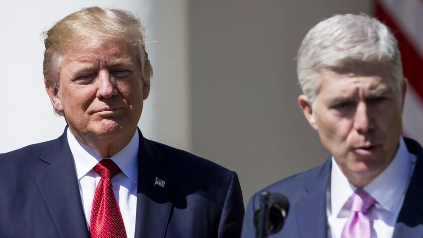 Supreme Court Justice Neil M. Gorsuch with President Trump in the White House Rose Garden.