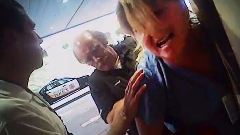 Nurse Alex Wubbels is arrested by a Salt Lake City police officer.