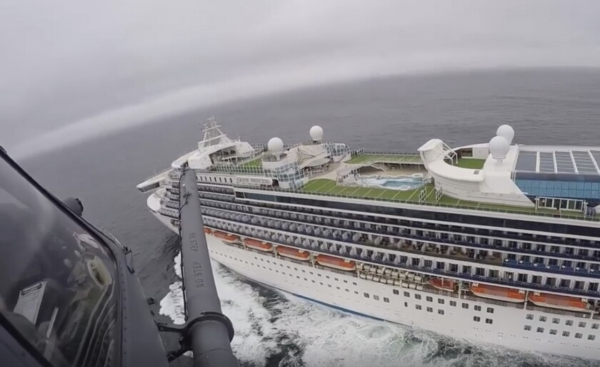 View from a National Guard helicopter of the quarantined cruise ship.