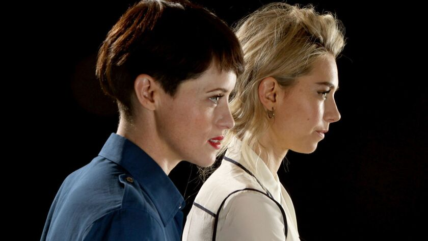 HOLLYWOOD, CA--APRIL 27, 2018--Actresses Claire Foy and Vanessa Kirby, who star as not always friend