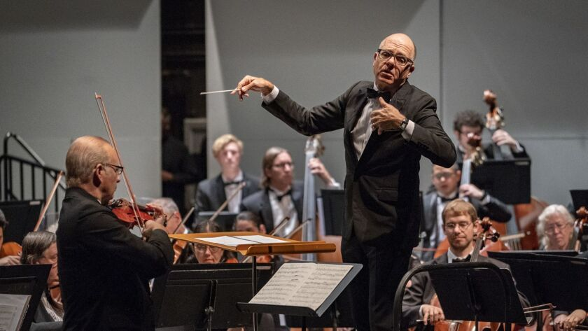 SAN DIEGO - DEC 12, 2018: The La Jolla Symphony & Chorus lead by Music Director Steven Schick perfor
