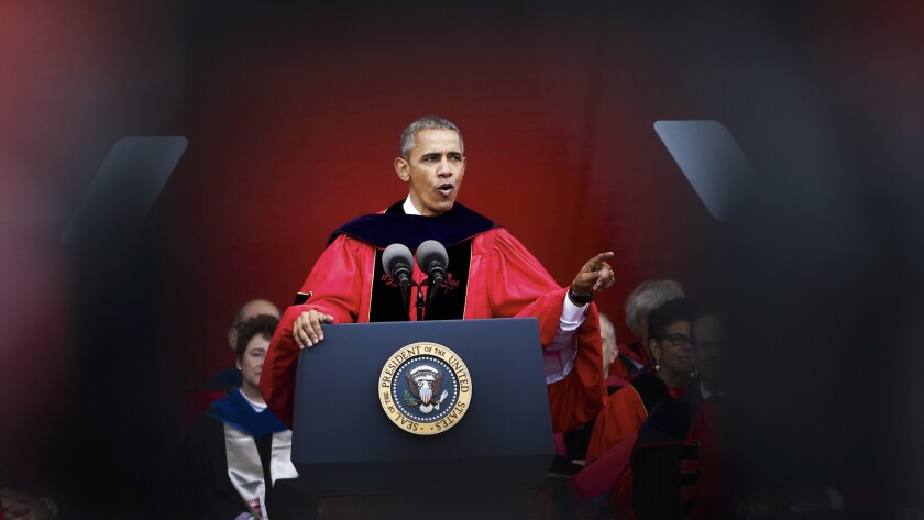President Obama speaks at commencement at Rutgers University on May 15 in New Brunswick, N.J.