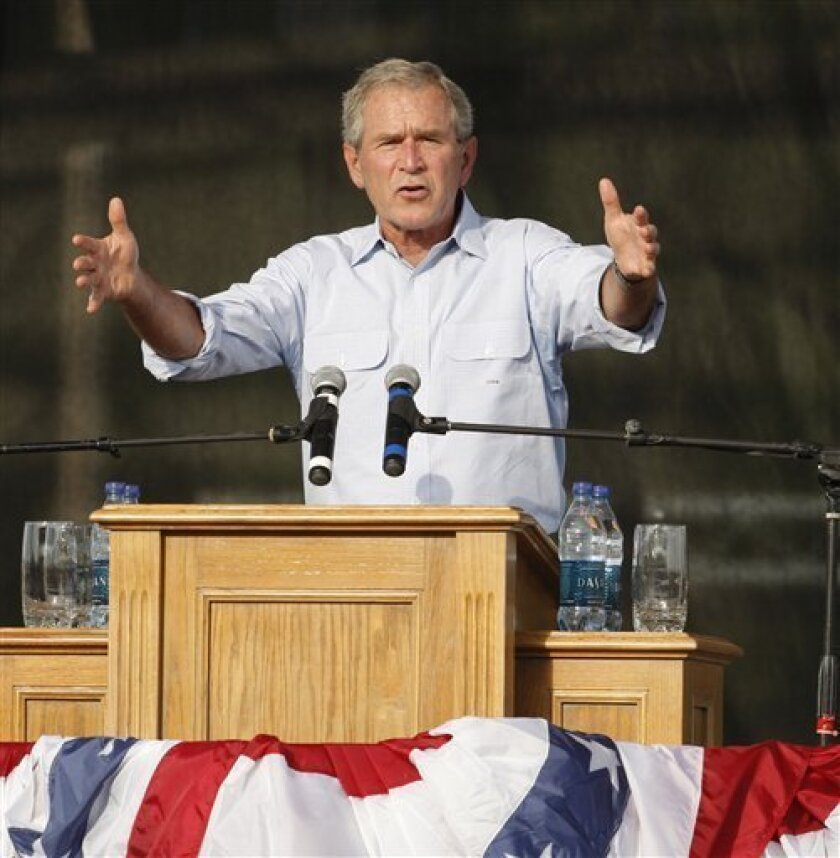 Former President George W. Bush addresses a Fourth of July crowd at the Let Freedom Ring 2009 festival at Crystal Beach Park Arena in Woodward, Okla., Saturday, July 4, 2009. (AP Photo)