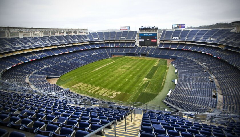 SAN DIEGO, CA-January 15, 2016: | Qualcomm Stadium has been home to the San Diego Chargers since it opened in 1967. It was originally called San Diego Stadium until it was renamed Jack Murphy Stadium in 1980, and then renamed again to Qualcomm Stadium in 1997. | (Howard Lipin / San Diego Union-Trib