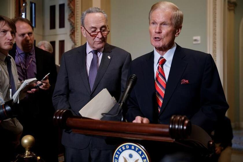 Senate Minority Leader Chuck Schumer (l) and Democratic Sen. Bill Nelson of Florida (r) hold a press conference at the US Capitol on Nov. 13, 2018. EFE-EPA/SHAWN THEW