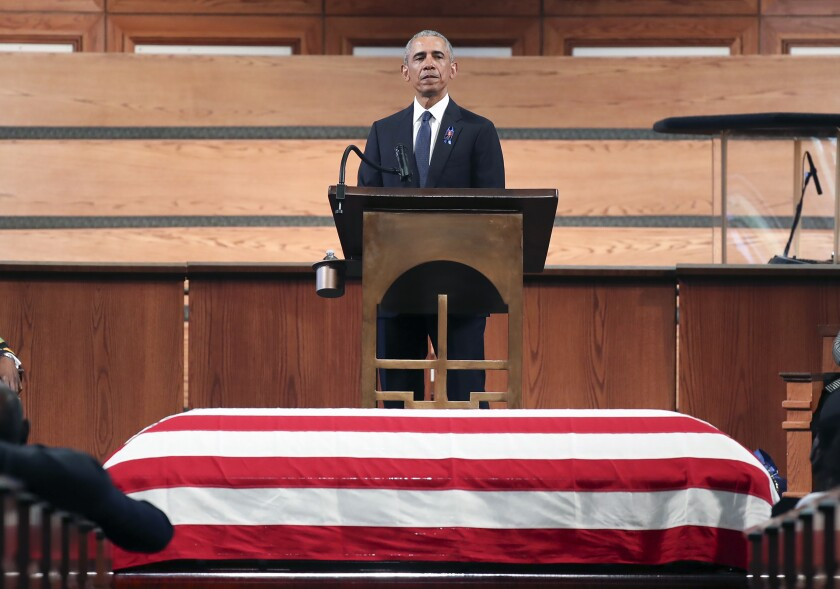 Former President Barack Obama, addresses the service during the funeral for the late Rep. John Lewis
