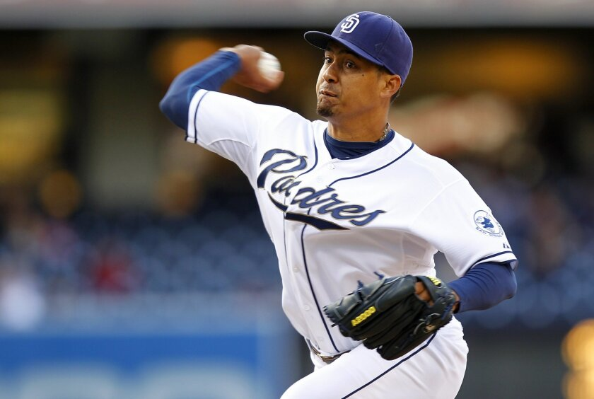 Padres Ernesto Frieri pitches the 8th inning against Arizona  on Tuesday, April 11, 2012.