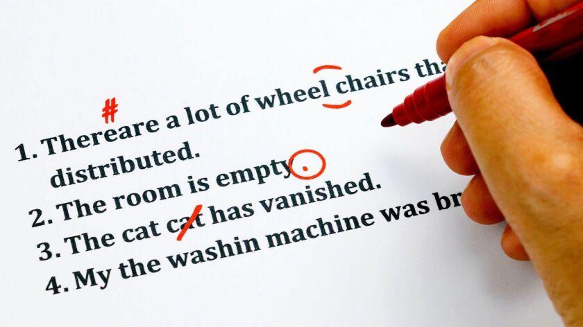 english sentences and correcting symbols represent proofreading process