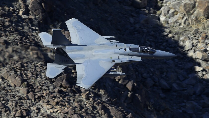 An F-15C Eagle from the California Air National Guard in flight