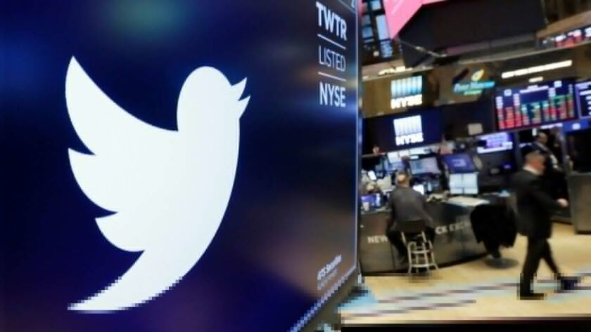 A Twitter logo displayed at the NYSE