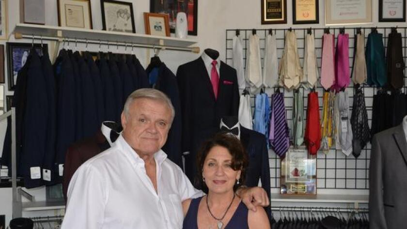 Jerry and Janet Klein in their formalwear shop, A Better Deal Tuxedo & Suits, at 369 Bird Rock Ave., La Jolla. (858) 551-6044. abetterdealtuxedo.com