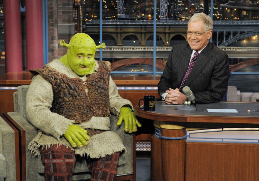 "Regis Philbin dressed up as Shrek on ""Late Show With David Letterman"" on April 22, 2009."