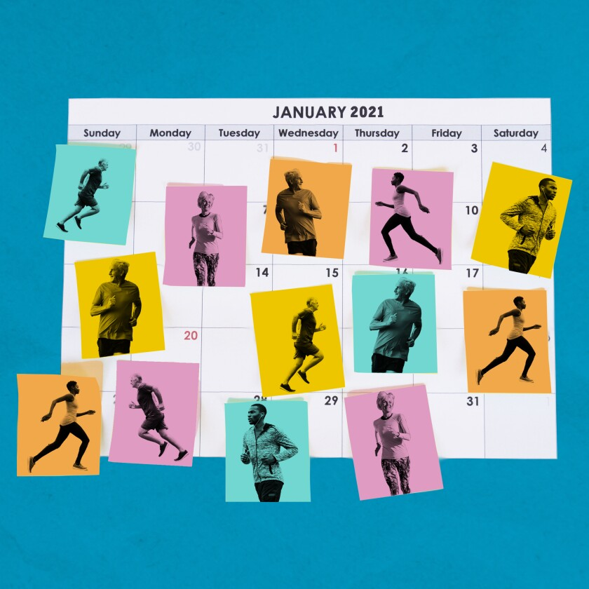 Illustration shows figures running, placed on a calendar.