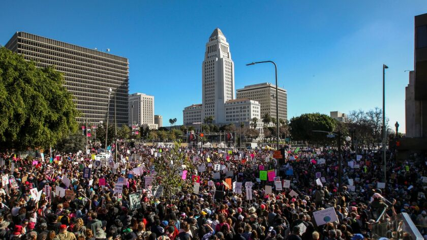 Women's March participants in front of L.A. City Hall on Jan. 21.