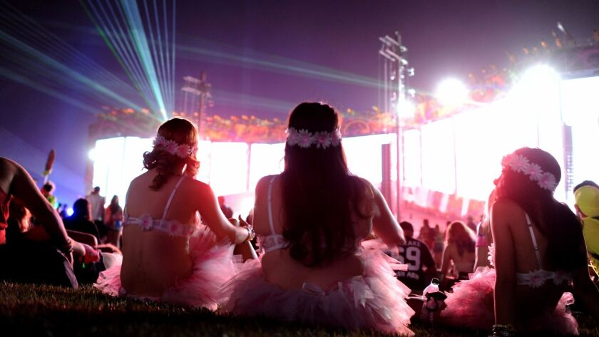 LAS VEGAS, NEVADA JUNE 19, 2015-Fans enjoy the Moby show at the Cosmic Meadow stage at the EDC in La