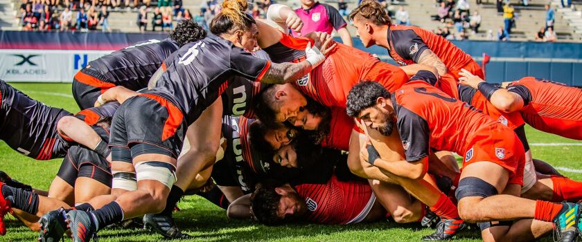 Players from the San Diego Legion (right) and Utah Warriors clash in a scrum during a game this season.