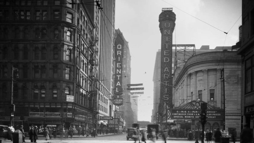 A vintage photograph of Randolph Street in Chicago from the documentary 'Going Attractions: The Definitive Story of the Movie Palace'