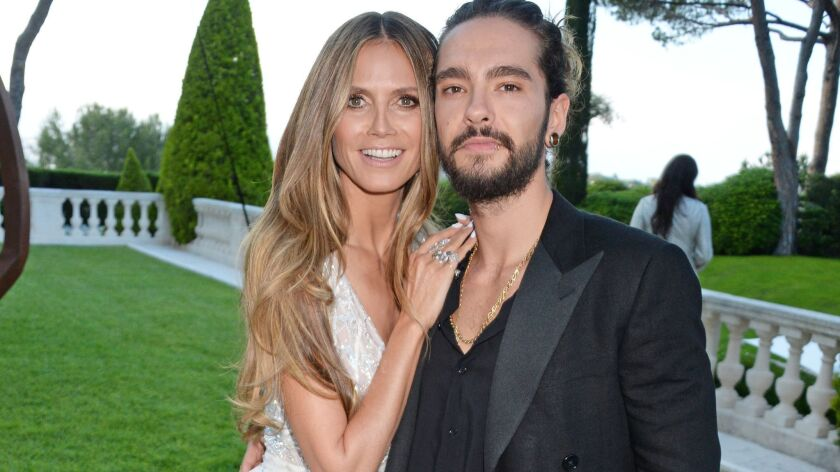 Supermodel Heidi Klum and musician Tom Kaulitz arrive at the amfAR Gala Cannes 2018 in France in May.