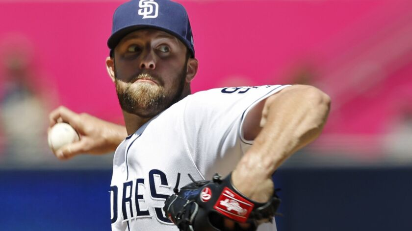 Padres pitcher Jordan Lyles pitches against the Colorado Rockies at Petco Park in San Diego on May 15, 2018.