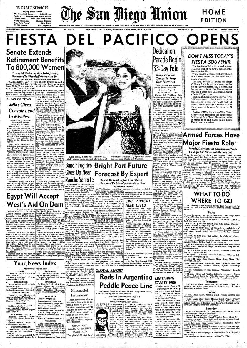 Front page of The San Diego Union, July 18, 1956.