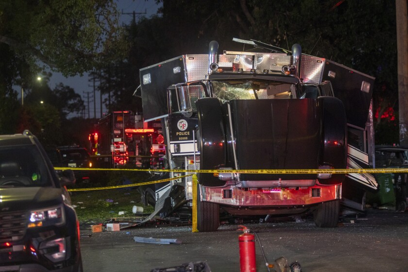 LAPD truck blown apart in an explosion