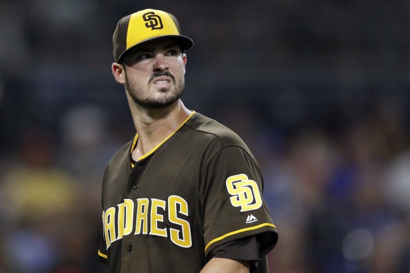 San Diego Padres starting pitcher Jacob Nix looks on during the fifth inning of a baseball game against the Philadelphia Phillies Friday, Aug. 10, 2018, in San Diego.