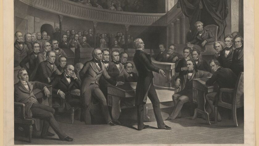 An 1855 engraving depicts Sen. Henry Clay (Ky.) speaking in the Senate on the Compromise of 1850, which addressed issues surrounding slavery.