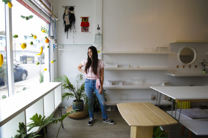 Alexandra Perez Demma, artist and owner of the Simon Limon art gift shop in Barrio Logan, was forced to close her doors by the state order closing non-essential businesses. Limon gift shop sold creations by more than 50 local artists.