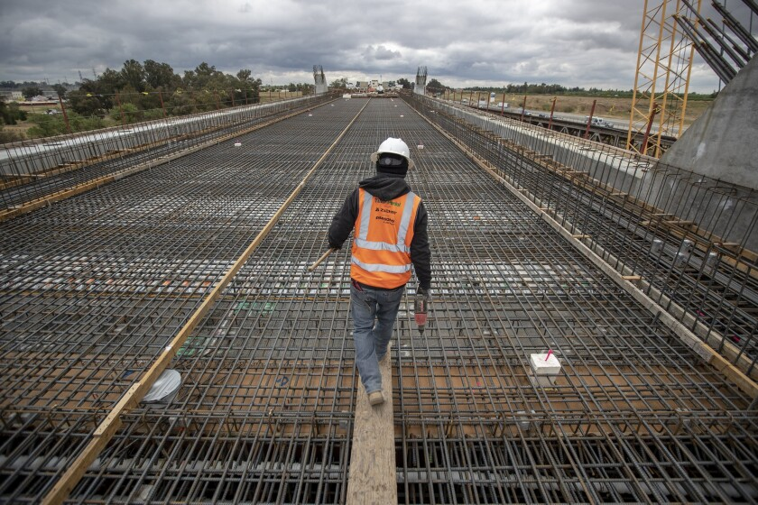 High-speed rail line construction in Fresno