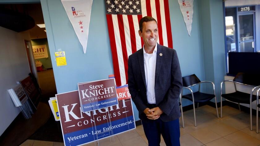SIMI VALLEY, CA., NOVEMBER 1, 2018 ---Congressman Steve Knight makes a campaign stop at his Simi Val
