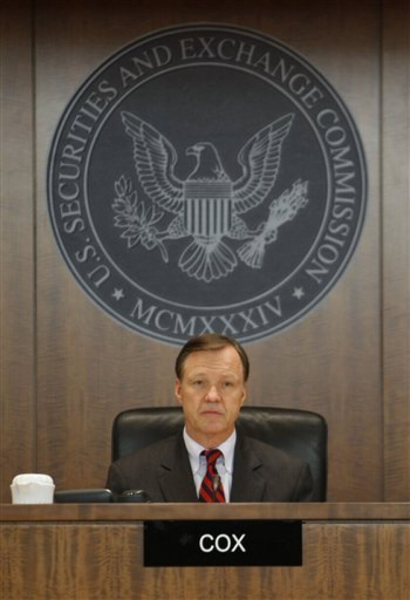 Securities and Exchange Commission (SEC) Chairman Christopher Cox presides over a meeting at SEC headquarters in Washington, Wednesday, Dec. 17, 2008. (AP Photo)