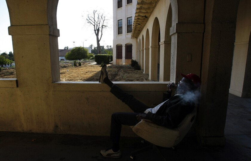 A veteran who identified himself as Ronnie takes a break from a drug treatment program at the Veterans Administration campus in West Los Angeles.