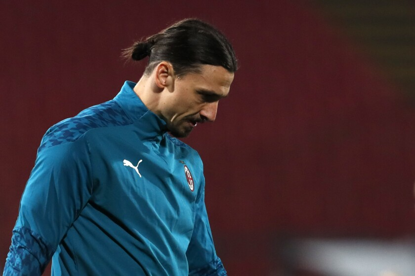 AC Milan's Zlatan Ibrahimovic looks on during a practice session.