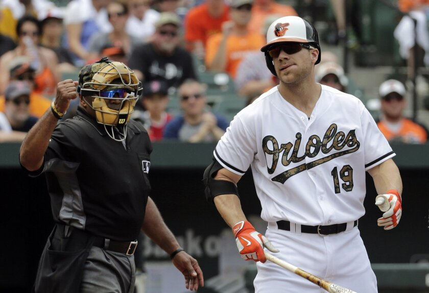 Baltimore Orioles' Chris Davis, right, walks off the field after striking out as home plate umpire Laz Diaz gestures in the second inning of a baseball game in Baltimore, Monday, May 30, 2016. Boston won 7-2. (AP Photo/Patrick Semansky)