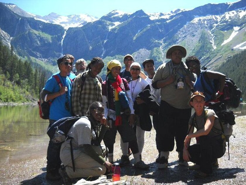 Students from the Elementary Institute of Science in southeast San Diego pose for a photo on their trip to Glacier National Park in Montana in July.
