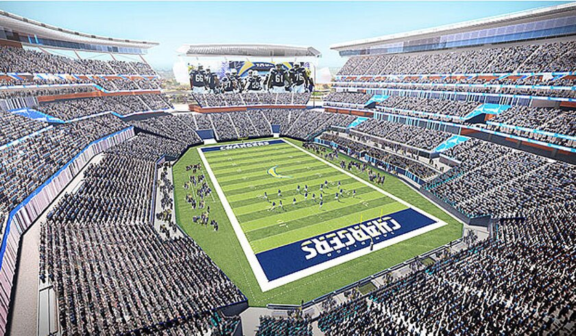 An artist's rendering of what a new Chargers stadium in San Diego might look like.