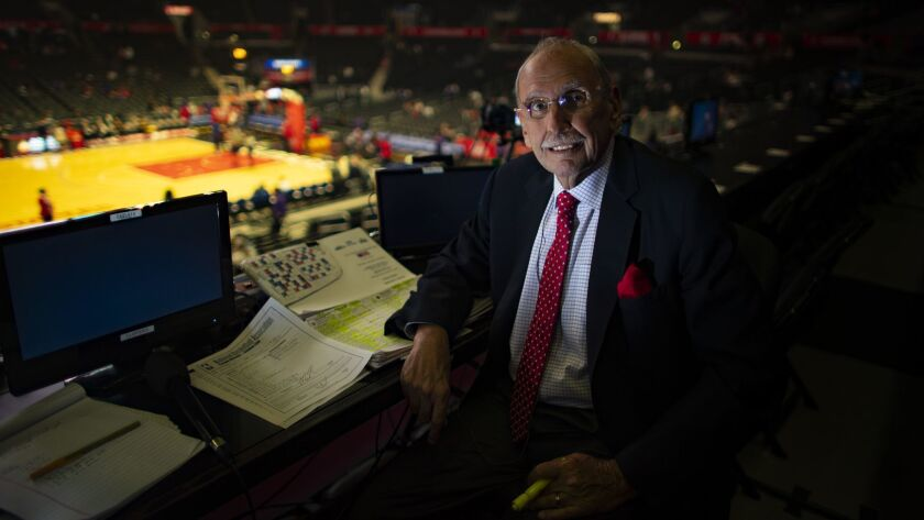 LOS ANGELES, CA - DECEMBER 22, 2018: LA Clippers long time broadcaster Ralph Lawler prepares before